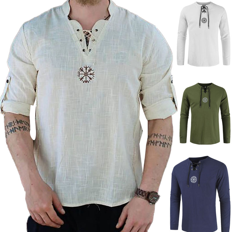 Medieval Viking Pirate Linen Top Shirt Costume Renaissance Mens Nordic Retro T-shirt Beard Cosplay Tee Lace-Up For Adult Belted