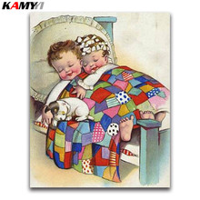 ФОТО baby sleeping 5d diy daimond painting cross stitch cartoon child full diamond mosaic children full round diamond embroidery dog