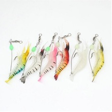 Fishing lure 6pcs 9.5cm 6.5g isca Artificial Fake Shrimp Bait with hook Silicon Soft lures  fly fishing tackle pesca