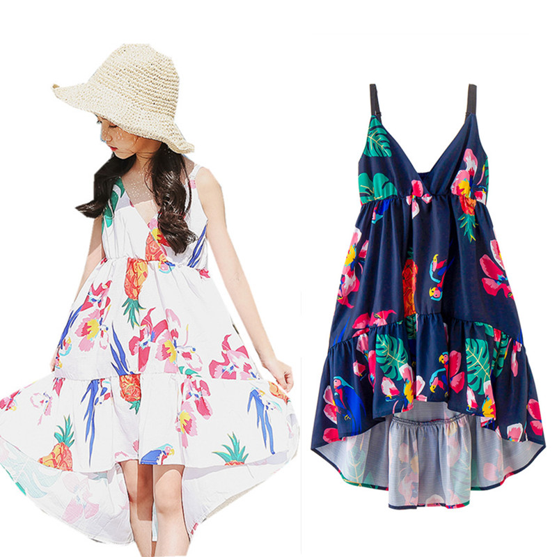 8 to 16 years kids & teenager girls summer floral print V-neck asymmetrical causal beach dress children fashion vacation dresses система очистки выхлопных газов autofab 2 5 elextric y e w af cut2y25