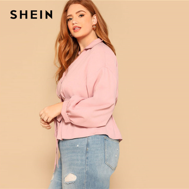 SHEIN Plus Size Pink Waist Belted Button Front Peplum Blouse Women Spring Long Sleeve Turn-Down Collar Solid Elegant Ladies Tops 2