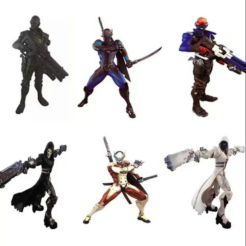 Hot Game Action Figure Reaper/Soldier76/Genji 26CM PVC Doll Anime Figure Model Kids Toys For Children Boys New Year Gift hot 9pcs lot anime junior vampirina the vamp batwoman girl action toy figure pvc model toys for kids christmas birthday gift hot