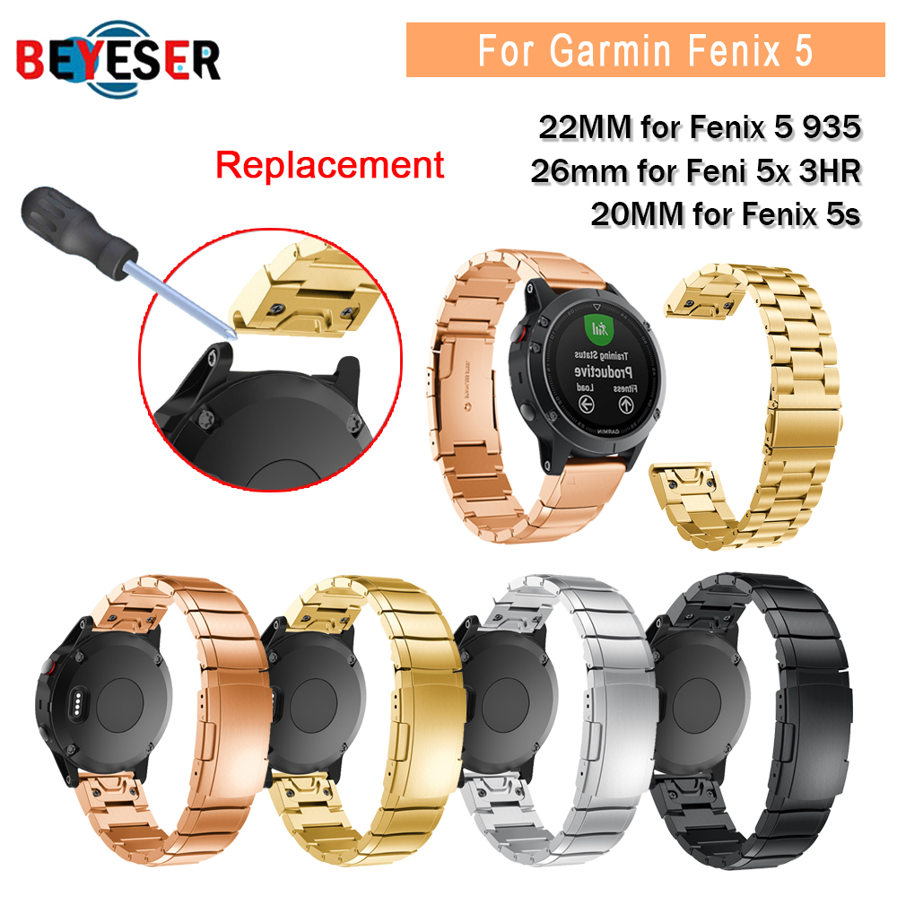 Strap For Garmin Fenix 5X 5 5s 3 3HR S60 Forerunner 935 Stainless Steel Bracelet Watchband Wristband 22MM Replacement Easy Fit