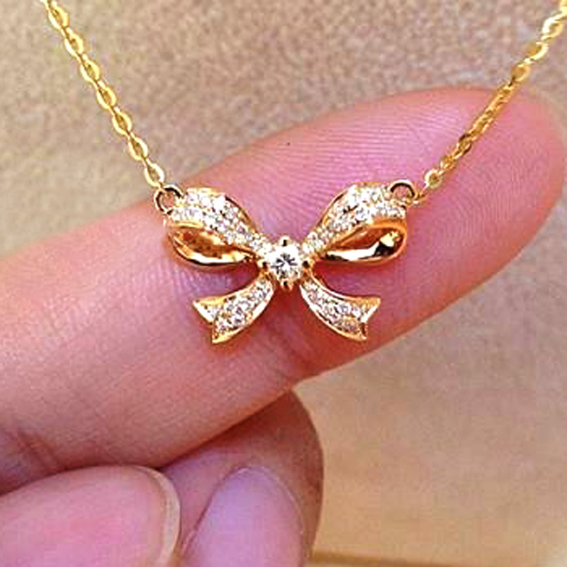 18K gold 0.14 carat diamond Bowknot pendant necklace women bow ...