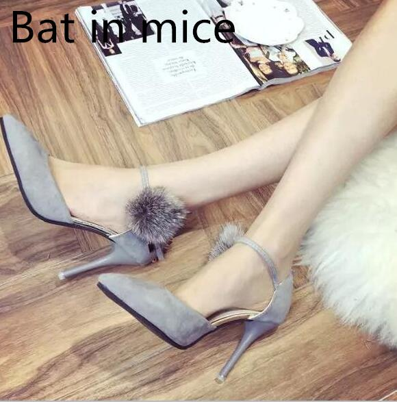 Bat in mice The new Korean version of the spring high heels fashion one word buckle belt metal decorative women's shoes the effect of waterpipe smoke on vital organs of swiss mice