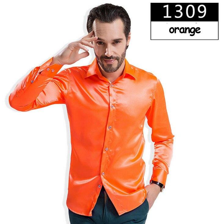 ZOEQO новая рубашка-смокинг для мужчин, 12 цветов, шелковое мужское однотонное платье с длинными рукавами, рубашка с запонками, мужские рубашки camisetas masculinas - Цвет: 1309 orange