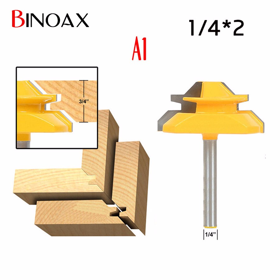 Binoax 45 Degree - Up to 1/2-3/4 Stock Lock Miter Router Bit Tongue and Groove Router Bit Set -1/4-1/2 Shank round up 1 2 3