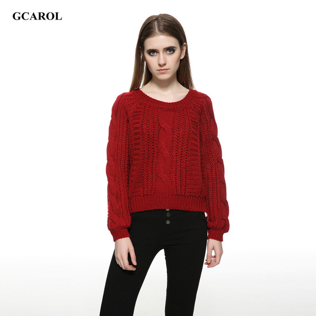 Women New Arrival Crop Sweater Vintage Twist Knitted Sweater Ladies'Casual Autumn Winter Short Knitwear Pullover