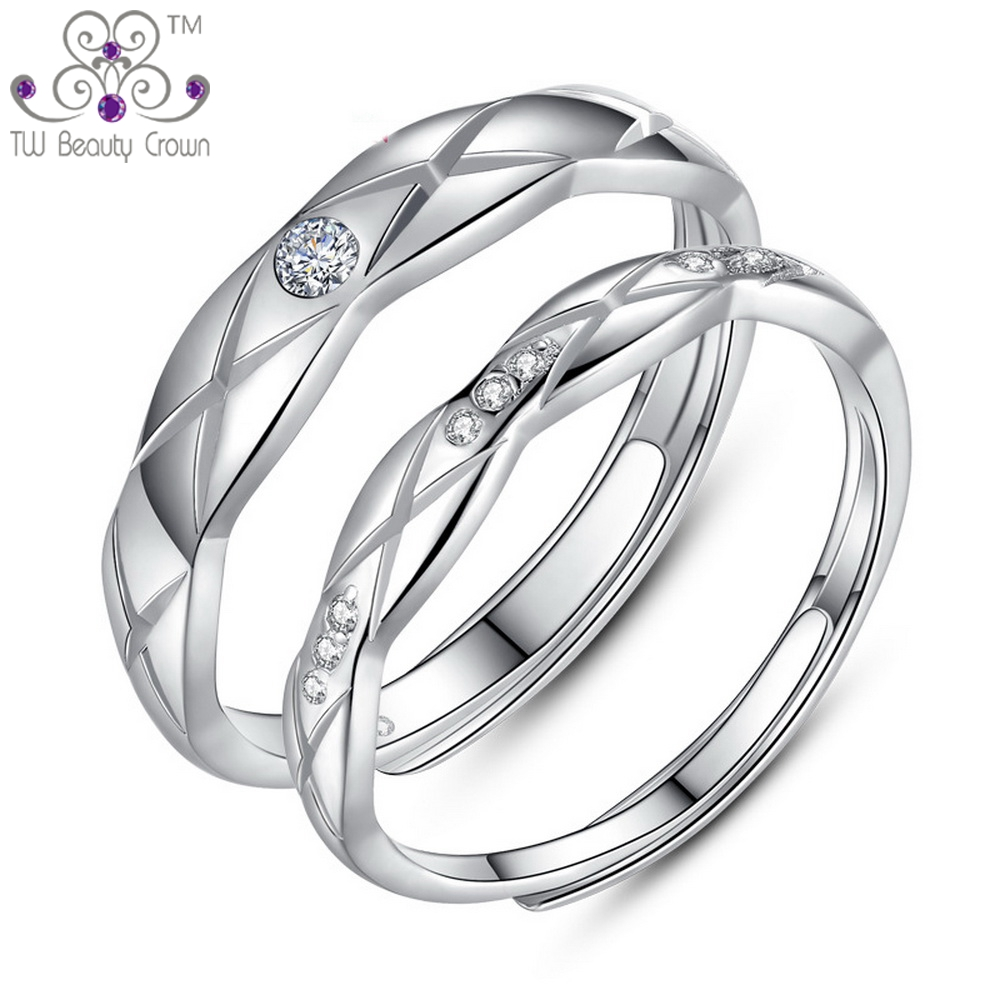 2017 Fashion Solid 925 Pure Silver One Pair White Zirconia Couples Wedding  Middle Finger Rings For