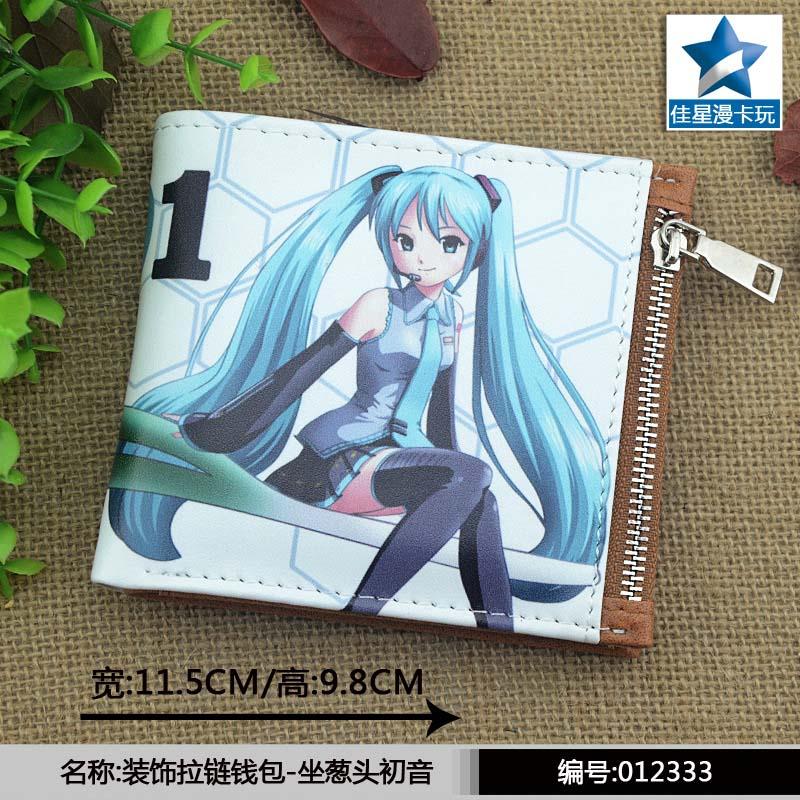ACG Vocaloid Hatsune Miku & Onion Horizontal Zipper Wallet/Anime Short Frosted Purse
