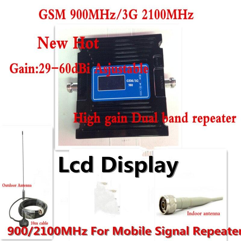 2 г GSM 900 мГц 3 г WCDMA 2100 мГц ЖК дисплей усилитель сигнала мобильного телефона Booster Усилители домашние повторителя регулировка 29 60dbi для России