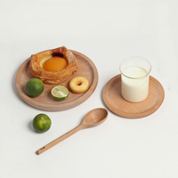 Round Plate Dish Japanese Natural Wood Plate Sushi Tray Breakfast Plate Dessert Fruit Dish Afternoon Tea