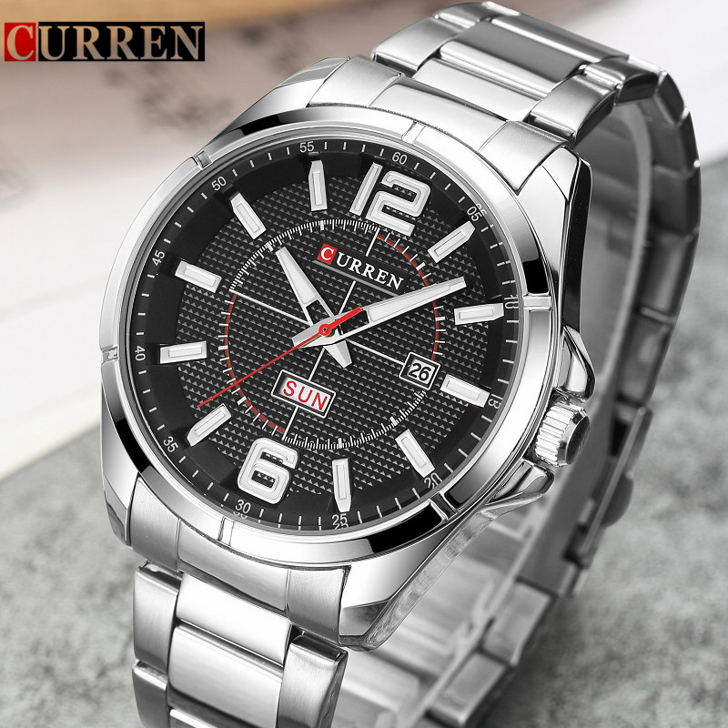 Curren Watch Men Brand Luxury Full Steel Quartz Mens Watches With Calendar Fashion Business Men's Wristwatch Relogio Masculino new curren men wrist watches top brand luxury man wristwatch full steel silver strap mens quartz watch calendar male hour clocks