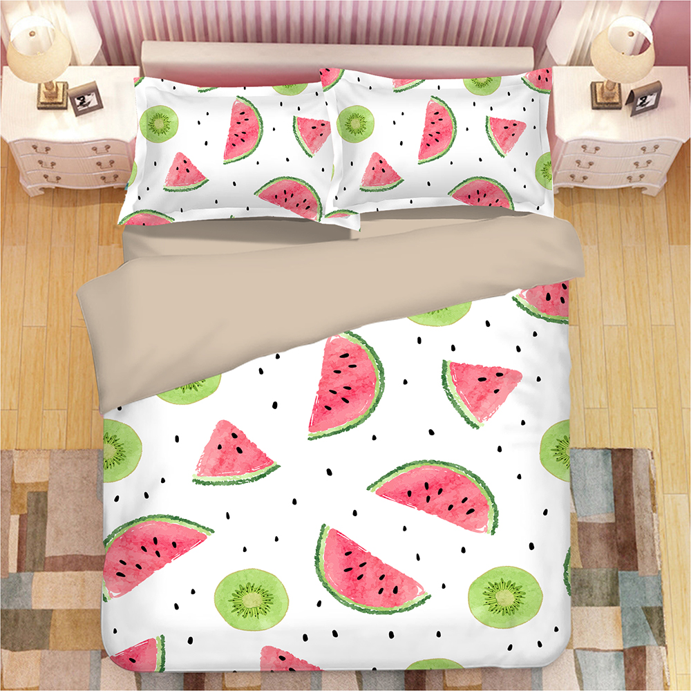 White cartoon Duvet cover Watermelon Fruit 3D Bedding set Luxury quilt cover sets King Queen full twin single 3pcs bedclothesWhite cartoon Duvet cover Watermelon Fruit 3D Bedding set Luxury quilt cover sets King Queen full twin single 3pcs bedclothes