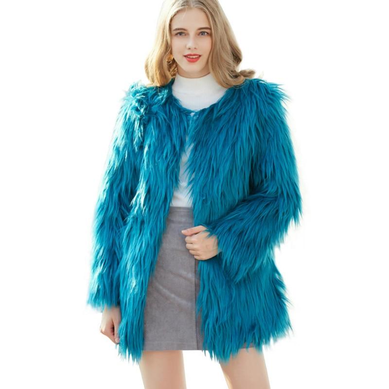 2018 azul Lujo Cardigan Real Faux Imitación negro Parka Abrigo Coat Largo Manga gris Blanco Outwear Larga Pelo Trench Piel Mujeres De Chaqueta aw57qRw