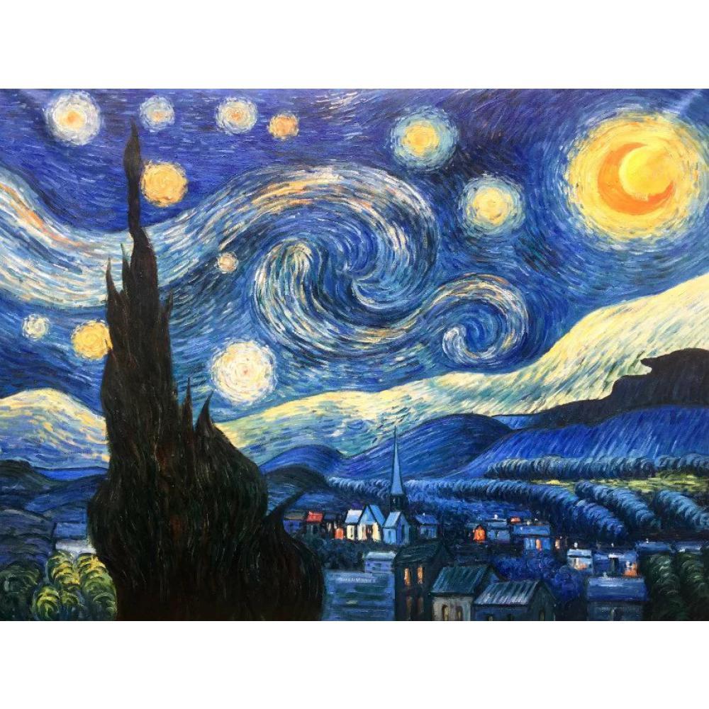 Artistes pop art vincent van gogh peinture à l'huile reproduction nuit étoilée décor à la maison peint à la main