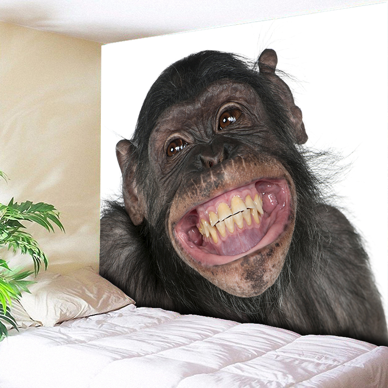 Monkey Snout Teeth Smile Wall Tapestry 3D Animals Decorative Hanging Art Decor for Kids Bedroom Picture Big