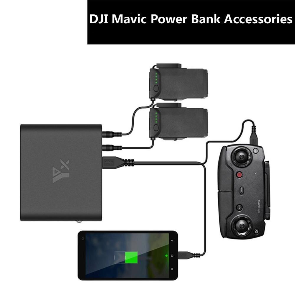 Dji mavic banco de potência do ar carregador portátil usb energia móvel inteligente carregamento da bateria para o ar quadcopter conversor acessórios