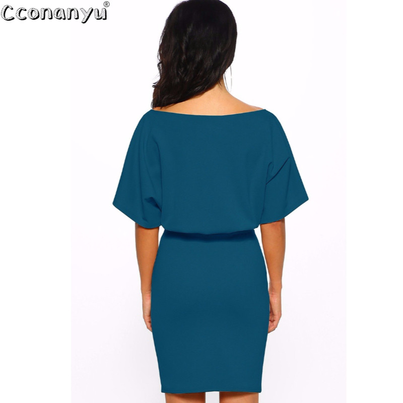 2019 Summer New Women Package Hips Dress Sexy Solid Color Short Sleeve Belt Sexy Tight Dress Elegant Mini Party Dresses in Dresses from Women 39 s Clothing