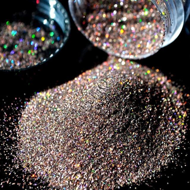 Holographic Nail Glitter Powder Dark Brown Coffee AB Nail Art DIY UV Shiny Glitter Dust Pigment 5g N57