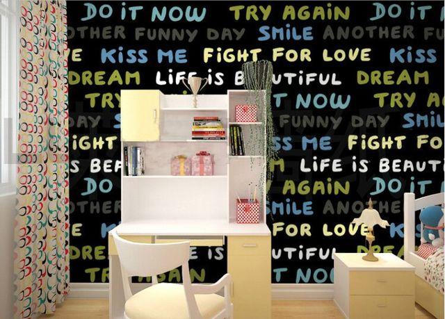 Carta Da Parati Per Camere Ragazzi : Moda parole inglesi wallpaper nelle ragazze ragazzi camera dei