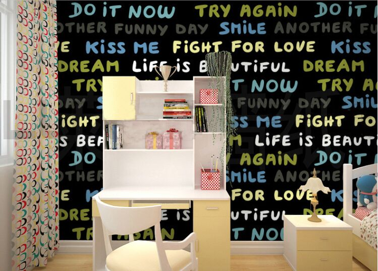 fashion english words wallpaper in girls boys kids room wallpaper for kidsroom in Formaldehyde-free Soundproof wall paper