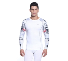 Mens football compression shirts base layer undershirt breathable anti-shrink sports wear clothes for fitness and gym white
