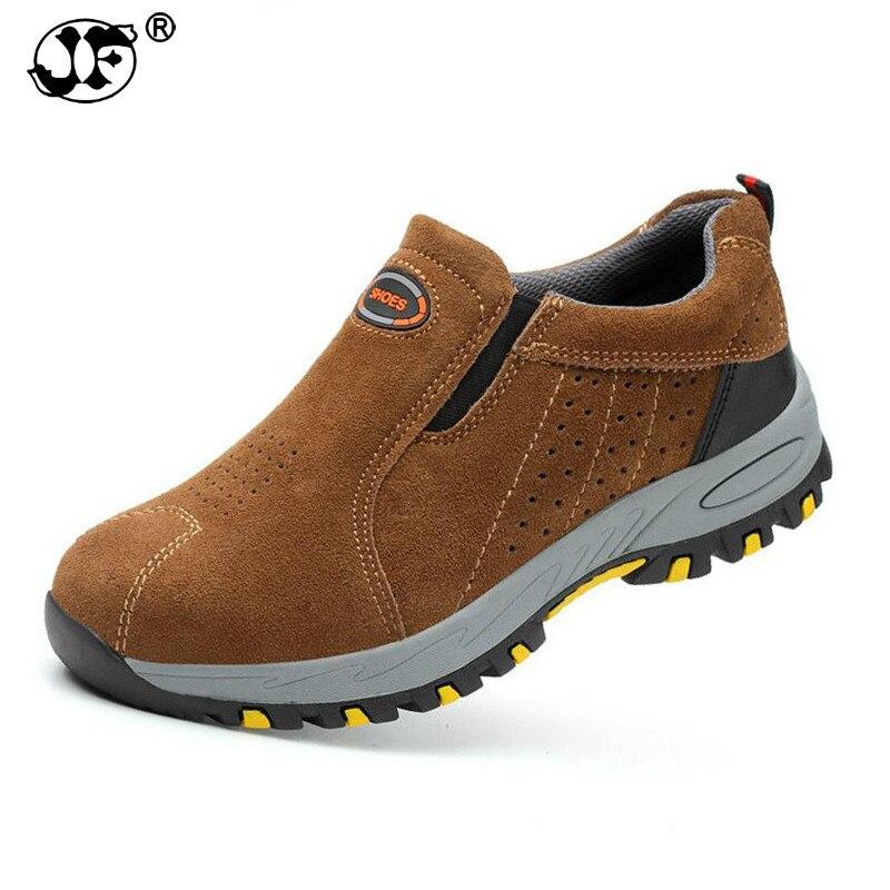 ZAPATOS DE TRABAJO hombres 2018 punta de acero de seguridad de moda transpirable Slip On Casual botas hombres seguro de trabajo zapato a prueba de pinchazos fgb467
