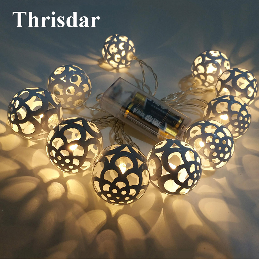 Thrisdar AA Battery Metal Iron Hollow Ball LED String Fairy Light 1.5M 10 LED Globe Christmas Party Wedding Garland Fairy Light