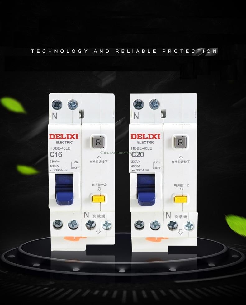 Circuit Breaker 10A 16A 20A 25A 32A 40A 63A 1P+N DPN RCBO RCD HDBELE DELIXI 63a 3 p 3 p n rcbo rcd выключателя de47le delxi