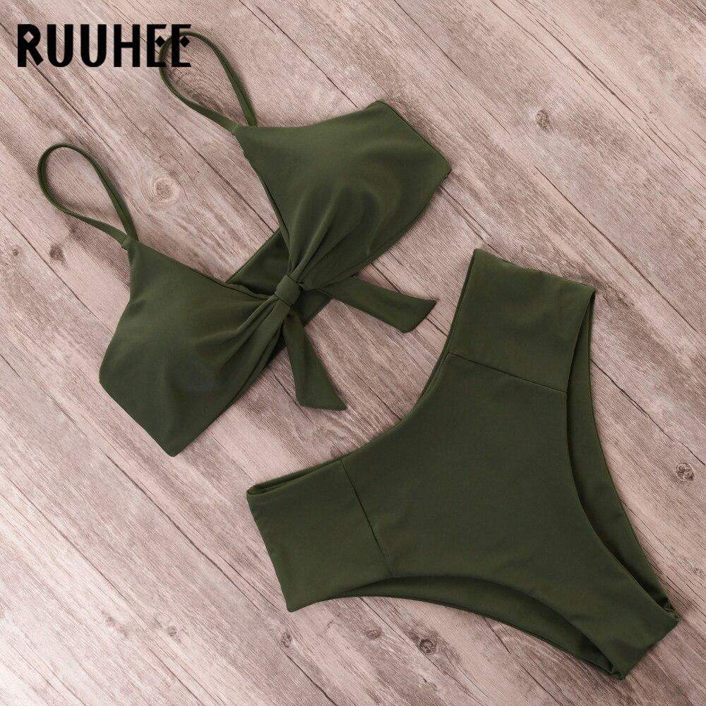 HTB1XI9NLYvpK1RjSZFqq6AXUVXa5 RUUHEE Bikini Swimwear Women Swimsuit 2019 High Waist Bikini Set Push Up Front Knot Bathing Suit Women Summer Beach wear Biquini