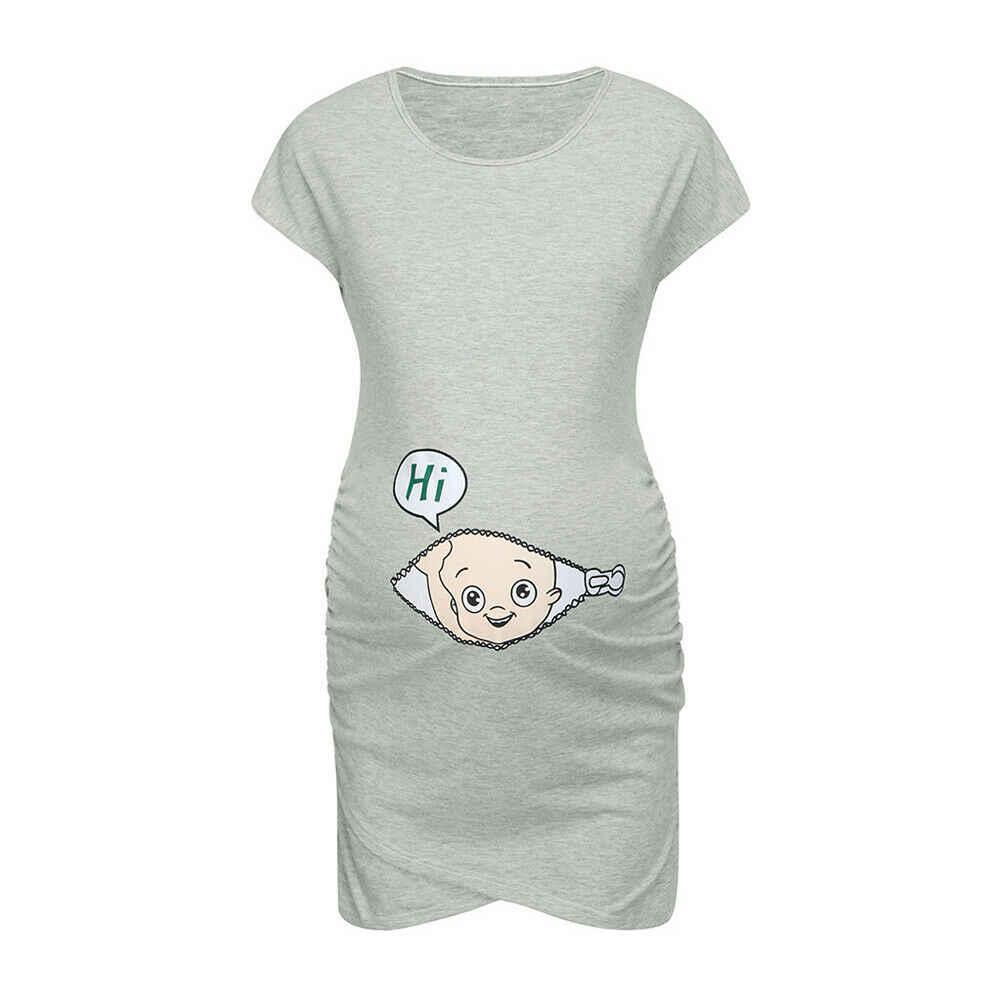 Ropa de maternidad 2019 mujeres embarazadas sin mangas fiesta vestido Casual maternidad algodón verano ropa de dibujos animados nuevo