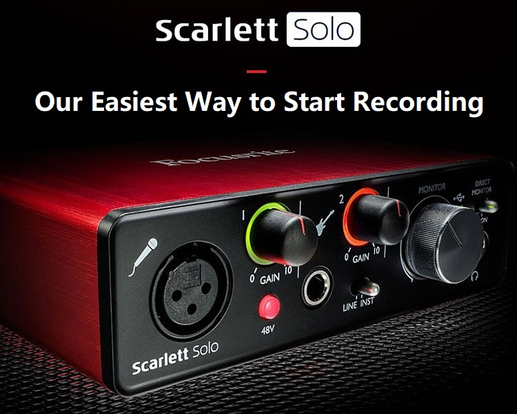 Focusrite Scarlett Solo 2nd Gen USB Audio Interface with Microphone Preamp External Sound card for Guitar