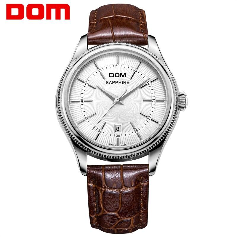 DOM hommes montres Top marque de luxe étanche quartz cuir célèbre montre hommes livraison gratuite Relogio Masculino M 518L 7M-in Montres à quartz from Montres    1