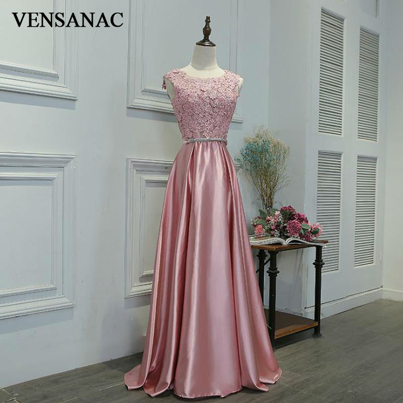 VENSANAC 2017 New A Line Flowers O Neck Crystal Long Evening Dresses Sleeveless Elegant Bow Tank Lace Party Prom Gowns