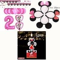 13pcs Mickey Minnie 1 2 3 4 5 Digital Aluminum Foil Balloon 1pcs Candle 10pcs Hair