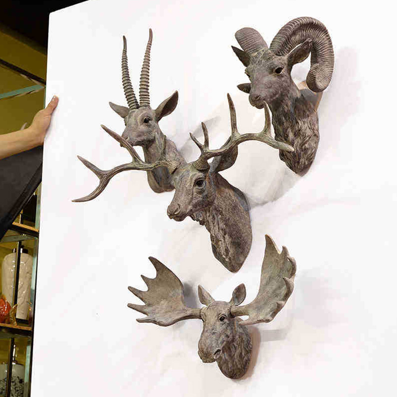 Modern Wall Mounted Animal Head Wall Decoration Resin
