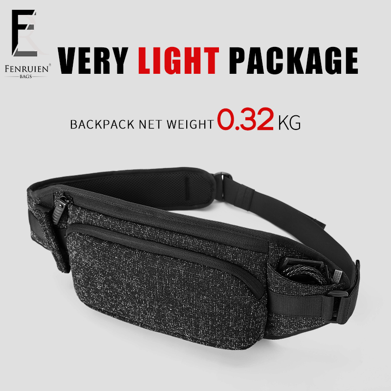 FRN Fanny Pack Men Black Waterproof Waist Bags for Men Fashion Phone Case Money Belt for Travel Security Wallet Purse Women