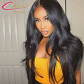Density 150 Silk Top Lace Front Wigs Natural Straight Brazilian Virgin 4*4 Silk Base Full Lace Human Hair Wig For Black Women