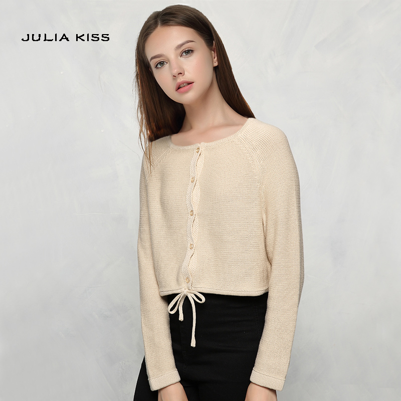 Autumn Fashion Women Draw-string Cardigans Long Sleeves Female Knitted Casual Sweaters ...