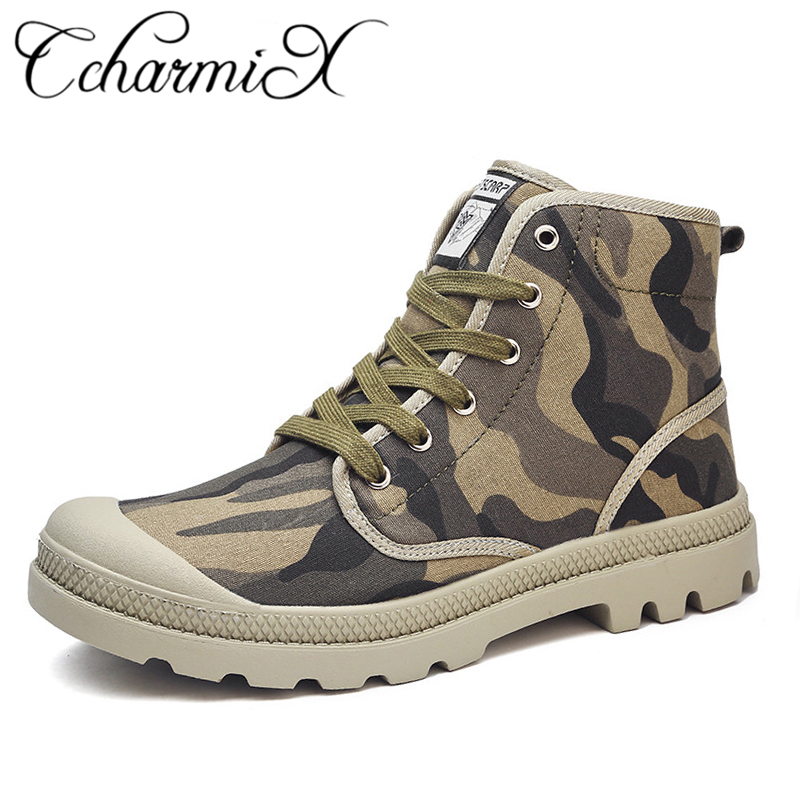 CcharmiX Men Canvas Boots Army Combat Style Fashion High-top Military Ankle Boots Men's Shoes Comfortable Camo Sneakers Bis Size new palladium fashion style high top tactical military boots man and woman outdoor travel hiking boots comfortable canvas shoe