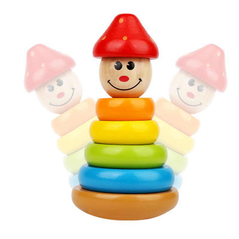 Деревянная Радужная башня из колец деревянные строительные блоки игрушки для детей детские 13 24 месяцев Монтессори Образовательные Обучающие ресурсы