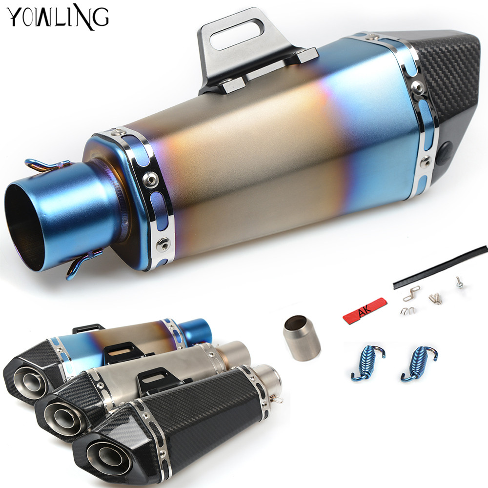 51mm Real Carbon Fiber Motorcycle Exhaust Pipe Motocross Muffler with DB KILLER CB400 CBR for kawasaki Z800 Z750 ER6R full real carbon fiber id 61mm 51 motorcycle universal exhaust muffler pipe with detachable db killer by cnc craft scooter atv
