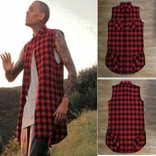 2016 style avenue put on model sleeveless Men's Shirts Hot pink black and white plaid longer part Casual males sleeve Shirts