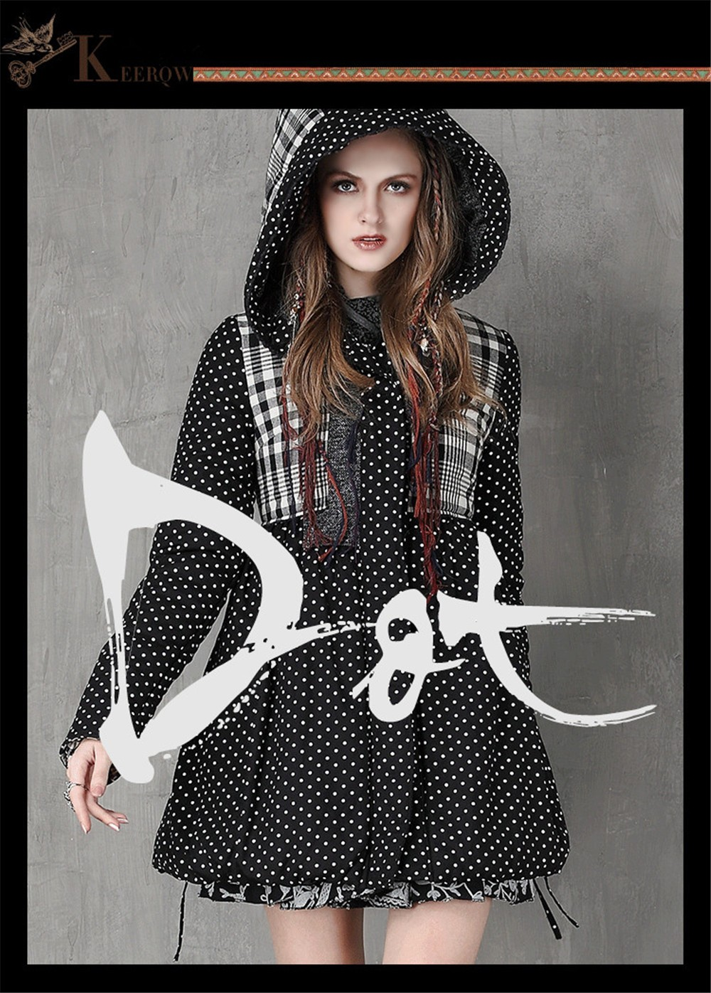 Vintage Thick Winter Women Hooded Coat 80% Cotton Polka Dot Patchwork Thicken Women Coats Warm Cotton Parka Linen Jacket Women (1)