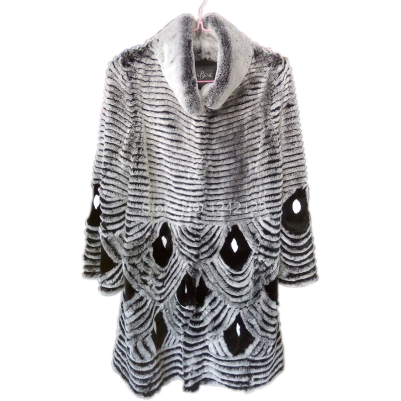 New autumn winter women warm Luxurious genuine fur Rex Rabbit fur coat Peacock striped coat Outdoor outwear big Loose fur jacket