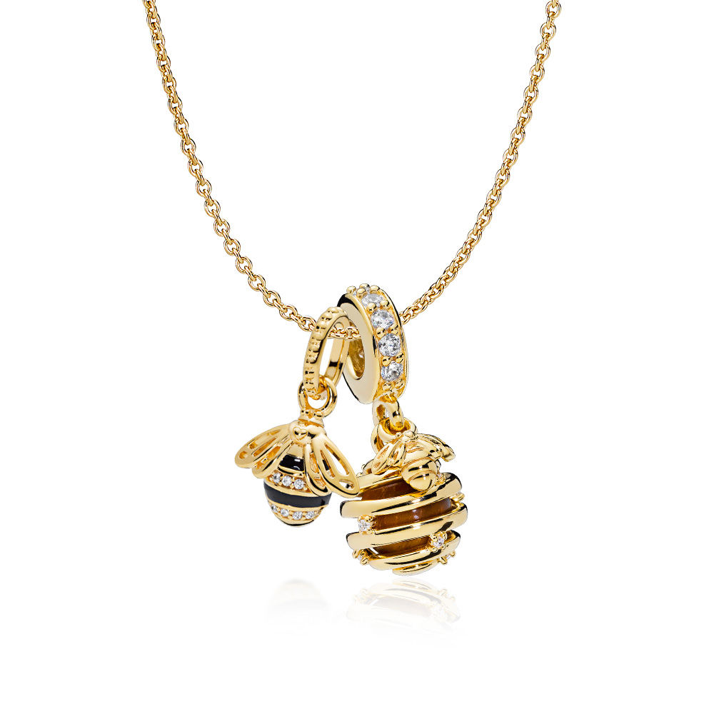 2018 100% 925 Sterling Silver Shine Honeybee Necklace Set Fit Charm Original Necklace A Set Of Prices