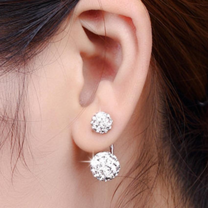 Kadın Lüks Shambhala Crystal Ball Saplama Küpe Moda Gümüş - Kostüm mücevherat - Fotoğraf 4
