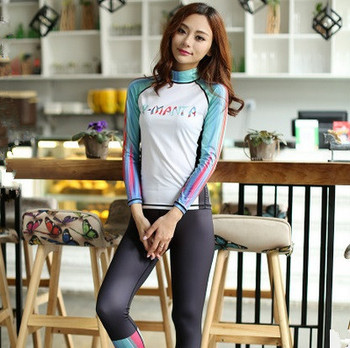 DIVE&SAIL Korean version diving suit  Rash guard Women Swimming Long Sleeve tops garment Swimwear Sunscreen Surfing