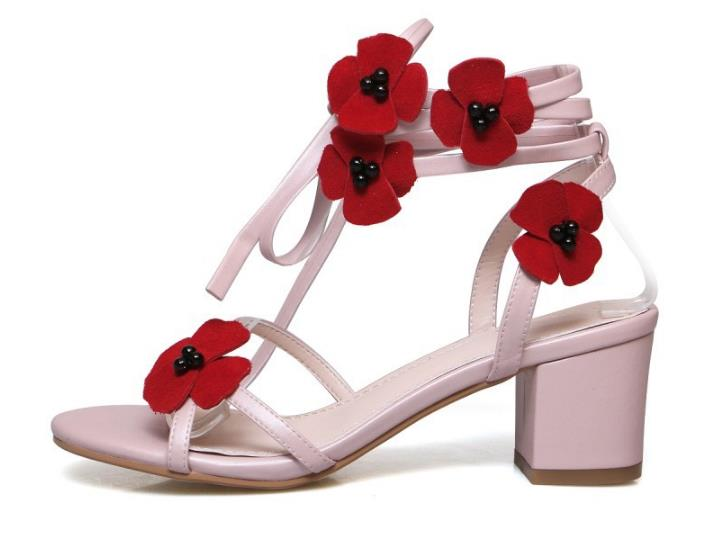 New Patch Mixed Color in Flower Women Sandals with Square Heel Lace up Ankle Tied Strap Mid Heels Lady Shoes Casual New Patch Mixed Color in Flower Women Sandals with Square Heel Lace up Ankle Tied Strap Mid Heels Lady Shoes Casual